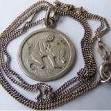 Lantisor argint - Lant vechi din argint cu medalion zodia Varsator - de colectie