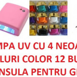 LAMPA UV 36 WATI W PROFESIONALA GELURI UNGHII PROFESIONALE COLORATE