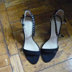 Sandale Zara, negre cu tinte, niciodata purtate (noi) - Sandale dama Zara, Marime: 38, Negru
