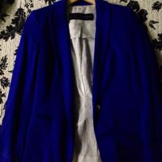 Sacou Zara - Tricou dama Zara, Marime: XS, Culoare: Albastru, Simplu, Maneca lunga, Casual