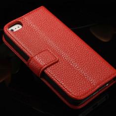 Husa / toc protectie piele iPhone 5, 5s lux, tip flip cover portofel, rosie - Husa Telefon Apple, Rosu