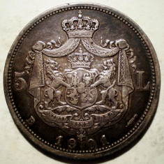 Monede Romania, An: 1901 - R.200 ROMANIA CAROL I 5 LEI 1901 ARGINT 24, 9g
