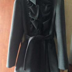 Palton superb - Palton dama Tinar, Marime: 40, Culoare: Gri, Gri, Lana