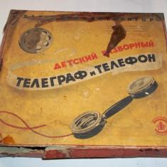 Telefon si telegraf demontabil pentru copii - jucarie veche ruseasca URSS anii '60-'70