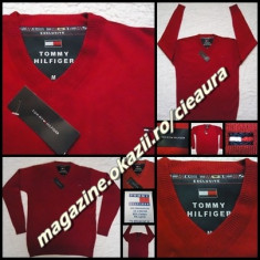 PULOVER ROSU BARBATI firma TOMMY HILFIGER EXCLUSIVE ANCHIOR 100%LANA NEW EDITION - Pulover barbati Tommy Hilfiger, Marime: XL, XXL, Culoare: Burgundy