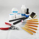 Set gel UV si ustensile pentru manichiura UV, Kit unghii false cu geluri UV - Gel unghii