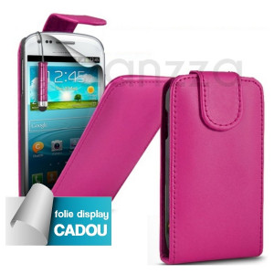 Husa Toc Flip piele roz SAMSUNG I8190 GALAXY S3 MINI Stylus Folie