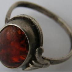 Inel argint - Inel vechi din argint cu chihlimbar (7) - de colectie