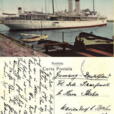 Constanta-Vaporul Dacia in port- rara - Carte Postala Dobrogea pana la 1904, Circulata, Printata
