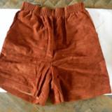 Pantaloni dama, Scurti, Coniac, S - Pantaloni scurti imitatie piele