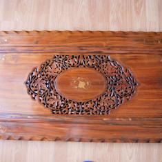Mobilier - Blat masa sculptat lemn cu insertii metalice