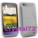 Livrare gratuita!!! Husa termorezistenta silicon-gel TPU clear pentru HTC One V + folie ecran + laveta, calitate - Husa Telefon