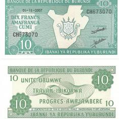 BURUNDI- 10 FRANCS 2007- UNC!! - bancnota africa