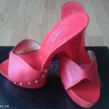 Papuci dama, Marime: 38, Rosu - Papuci din piele naturala de club rosii