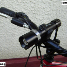 Far Bicicleta Power Light 500W cu Led Cree + Suport Rotativ + STOP Leduri, Faruri si semnalizatoare
