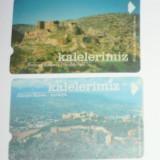 Catela telefonica - Set 2 buc - Cartela - Arta - Istorie - Cetatea Antalya si Iskenderun - Turcia - 2+1 gratis toate licitatiile - CHA129