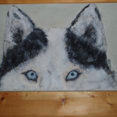 Tablou pictat manual pe panza in culori acrilice -HUSK, Animale