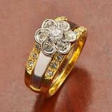 Inel placate cu aur - LIVRARE GRATUITA !!! - ELEGANT SI INTERESANT INEL 9K GOLD FILLED (FORMAT DIN 2 INELE), CU CRISTALE DE ZIRCONIU CZ, CUTIUTA CADOU
