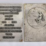 Ticuzz - Placheta din bronz argintat BRASOV 1913 - 1938 Asociatia canina BV - Medalii Romania