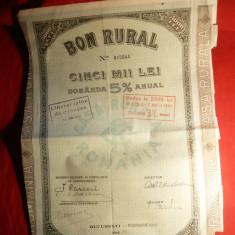 Actiune 5000 Lei Bon Rural 1931, redus la 2500 lei, cu cupoane