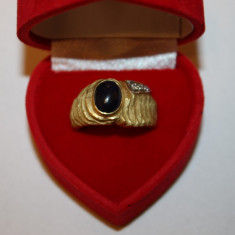 Inel aur 18k superb cu safir si diamante
