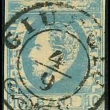 CAROL CU BARBA ;LP 31c;10b ALBASTRU DE PRUSIA ;IMPRESIUNEA DEFECTUOASA; STAMPILA GIURGIU