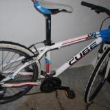 Bicicleta mountain bike CUBE, 16 inch, 24 inch, Numar viteze: 24, Aluminiu, Alb-Albastru
