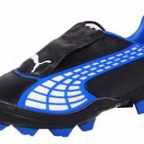 Ghete fotbal gazon Puma v1.10 FG Cleats 10194402, ORIGINALE, albastru/negru, piele + tricou gratuit, Marime: 39, 40.5, 42, 44.5, 45, 46, 46.5, Barbati