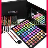 Trusa make up Mac Cosmetics - Trusa machiaj profesionala 96 culori MAC farduri mate sidefate + Set 7 pensule