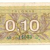 LL bancnota Lithuania 0.10 talonas 1991