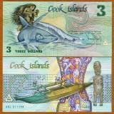Bancnota Straine - INSULELE COOK 3 DOLARI 1987 UNC INA SI RECHINUL