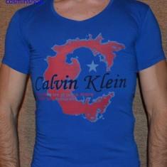 Tricou CALVIN KLEIN - Slim Fit - Model NOU de Sezon !!! - Tricou barbati Calvin Klein, Marime: XL, Culoare: Albastru, Maneca scurta, Bumbac