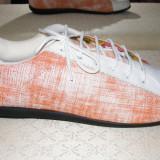 BERTINI (Spania). Pantofi sport piele ALB / ORANGE. Marime  39,5/40