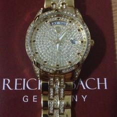 Ceas de dama auriu Reichenbach Venus - Ceas dama, Elegant, Quartz, Inox, Ziua si data