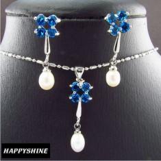 Set de bijuterii Aur alb placat 18k, cu Perle si Safire, Cutiuta cadou -LIVRARE GRATUITA! - Set bijuterii placate cu aur