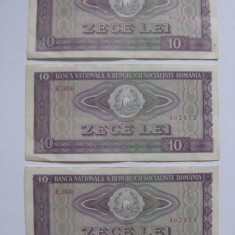 Bancnote Romanesti - 3 BANCNOTE SERII CONSECUTIVE 10 LEI 1966