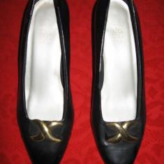 Pantofi negri piele eco, toc 7 cm, Mar 41 - Pantofi dama, Culoare: Negru, Piele sintetica