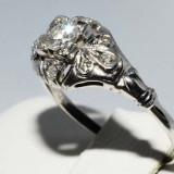 Superb inel aur alb 18K cu diamante naturale 0, 25CT, stil antic, foarte ieftin, 46 - 56