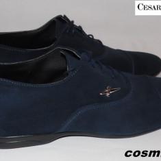 Pantofi CESARE PACIOTTI 100% Piele Intoarsa Naturala - Bleumarin / Negru !!! - Pantofi barbati Cesare Paciotti, 41, 42, Albastru