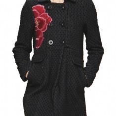 Palton negru bleumarin scurt DESIGUAL nou cu eticheta de hartie, M 38, jacheta lana model floare rosie, geaca superba pt iarna, pret magazin 879lei - Palton dama Zara