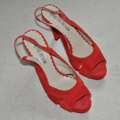 Sandale dama - Noi! Sandale de piele intoarsa rosii, superbe, toc inalt, Jonquille, femei marimea 40