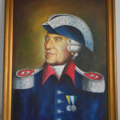 Tablou portret pictat pe panza rama lemn piesa colectii militare - Pictor strain, Portrete, Ulei, Realism