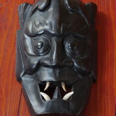 Masca deosebita din lemn cu colti adevarati de animal