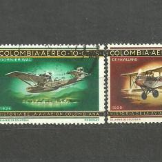 Timbre straine, America Centrala si de Sud, Transporturi - COLUMBIA 1965 - HIDROAVION DORNIER MERCUR SI BIPLAN DE HAVILLAND, 2 timbre stampilate A95