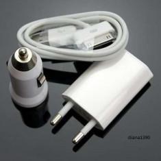 Incarcator 3 in 1 Perete Auto si USB pentru iPhone 3G 3GS 4 4S iPod - Incarcator telefon iPhone, De priza si masina