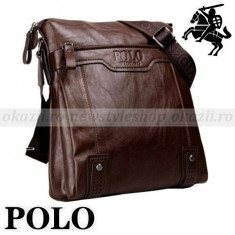 POLO - Geanta de umar(verticală) din piele - Geanta Barbati Polo Sport, Marime: Medie, Culoare: Maro, Geanta tip postas