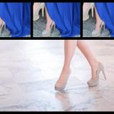 Pantofi dama bej deschis;toc de 13 cm si platforma de 3 cm - Pantof dama, Marime: 39