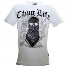 Tricou barbati - Tricou hip hop Thug Life Alb
