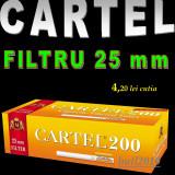 Tuburi CARTEL CU FILTRU LUNG - 25 mm -  200 tuburi tigari, filtre tigari rosu