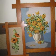 Tablou / tablouri cusute manual, tip goblen - inramate - 2 buc - Tapiterie Goblen